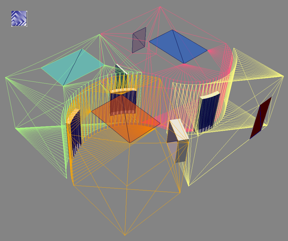 Small building with 4 rooms, multiple wall widths, exported with gbXML2STL, viewed in ParaView
